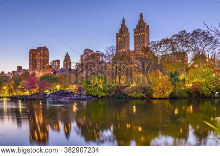 New York, New York, USA view of the Upper West Side from Central Park on an autumn evening.