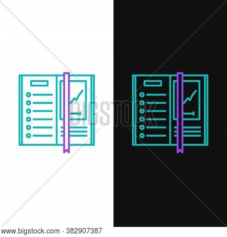 Line Notebook Icon Isolated On White And Black Background. Spiral Notepad Icon. Writing Pad. Diary F