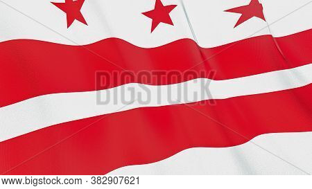 The Waving Flag Of District Of Columbia . High Quality 3d Illustration. Perfect For News, Reportage,