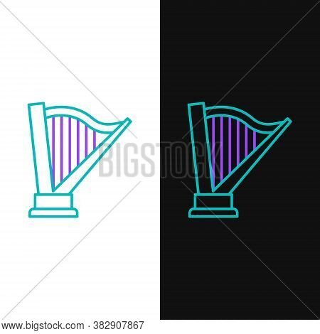 Line Harp Icon Isolated On White And Black Background. Classical Music Instrument, Orhestra String A