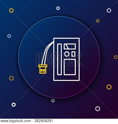Line Battery Icon Isolated On Blue Background. Accumulator Battery Energy Power And Electricity Accu