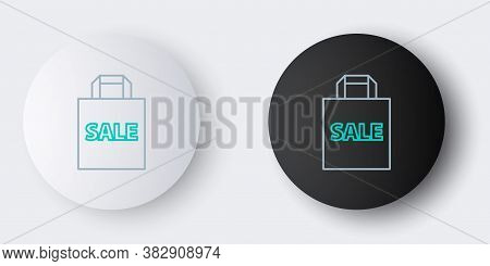 Line Shoping Bag With An Inscription Sale Icon Isolated On Grey Background. Handbag Sign. Woman Bag