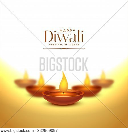 Happy Deepawali Occasion Background With Diya Lamps