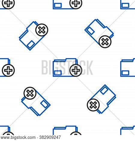 Line Add New Folder Icon Isolated Seamless Pattern On White Background. New Folder File. Copy Docume