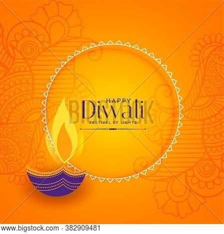Happy Diwali Beautiful Yellow Decorative Background Design
