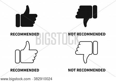 Recommended And Not Recommended Icon. Vector Label Illustration.