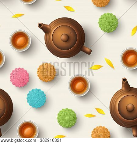 Colorful Mooncakes, Teapot And Teacup, Seamless Pattern. Chinese Translation Is Blessing And Mid Aut