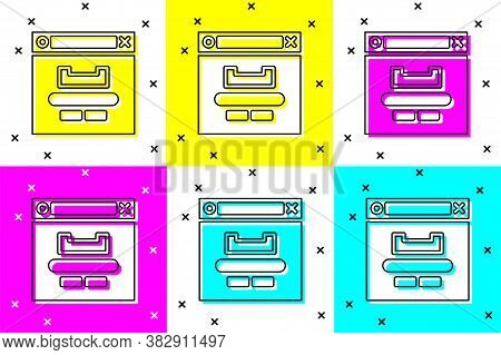 Set Browser Window Icon Isolated On Color Background. Vector Illustration