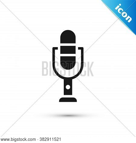 Grey Microphone Icon Isolated On White Background. On Air Radio Mic Microphone. Speaker Sign. Vector