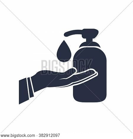 Icon Of Hygiene Procedure, Disease Prevention. Vector Sanitizer And Antiseptic Alcohol Gel Symbol. H