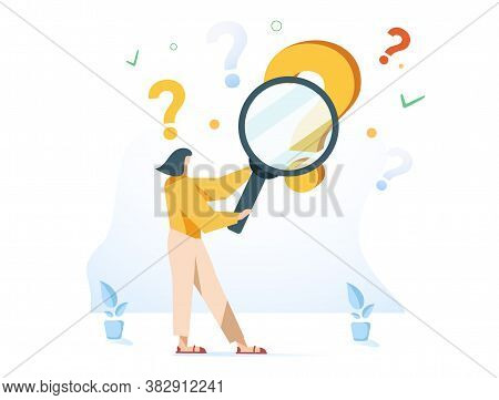 Woman Holding Magnifying Glass And Looking Through It At Interrogation Points. Concept Of Frequently