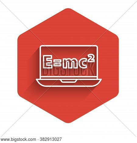 White Line Math System Of Equation Solution On Laptop Icon Isolated With Long Shadow. E Equals Mc Sq
