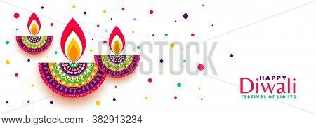 Happy Diwali Festival Celebration Colorful Banner Design