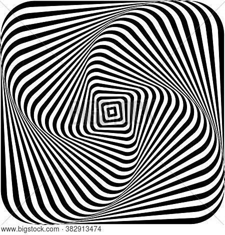 Optical Illusion Of Swirling A Picture Torsion And Rotation Movement. Dynamic Effect