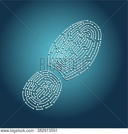 Digital Tracking Concept. Footprint With Chip Pattern. Computer Identity Vector Illustration. Biomet
