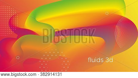 Fluid Dynamics. Neon Design. Abstract Template. Vector Creative Cover. Graphic Motion. Fluid Dynamic