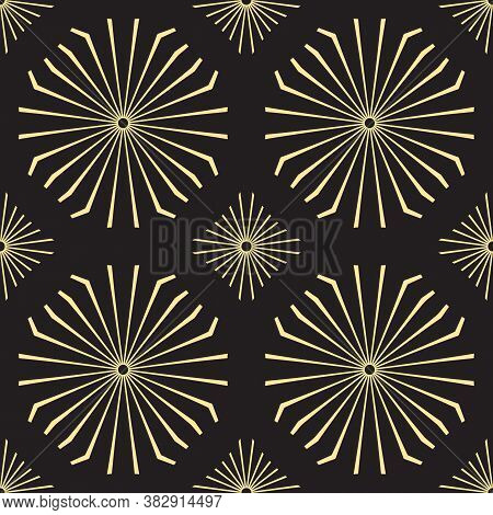 Seamless Pattern With Lines In The Shape Of Diverging Rays. Black And Gold Texture. Vintage Art Deco