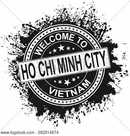 Round Rubber Stamp With City Name Ho Chi Minh City And Stars, Isolated On White