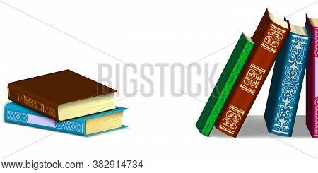 Hardcover Books In Different Positions Isolated On A White Background. Book Stack And In A Row.