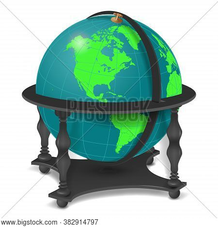 Desktop Or Outdoor 3d Globe On Four Legs Isolated On A White Background.