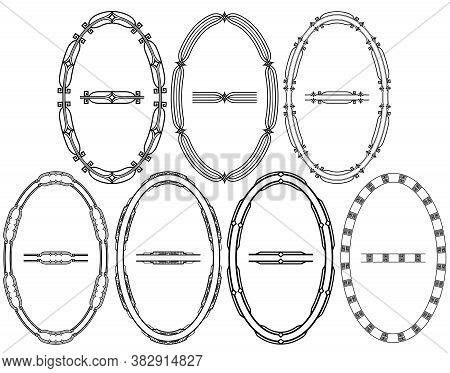 Vertical Oval Frames, Borders And Pattern Brushes Stroke Elements. Set Of Geometric Art Deco Ornamen