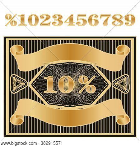 Luxury Premium Vintage Golden Label. Discount Price Tag.