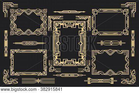 Set Of Elements In Art Deco Style. Luxury Frames, Corner Elements And Dividers. Vintage Gold Ornamen