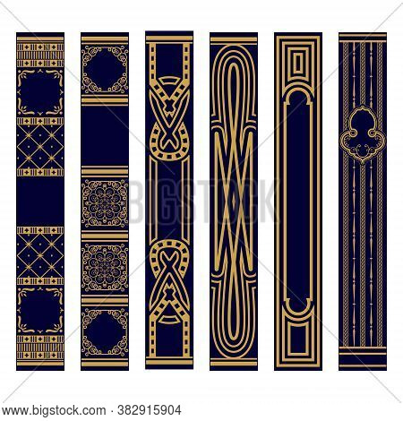 Set Of Vertical Spines Of Books Ornament. Samples Of Roots Of The Book. Luxury Gold And Blue Pattern