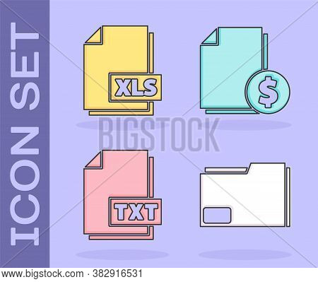 Set Document Folder, Xls File Document, Txt File Document And Finance Document Icon. Vector