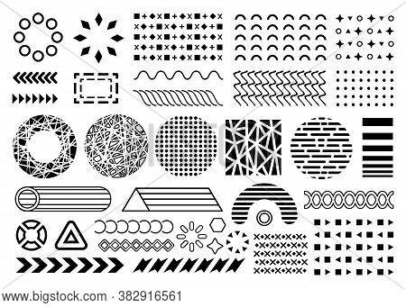 Vector Shapes Memphis Design Elements. Collection Of Black Flat Memphis Elements. Overlay Shape Coll