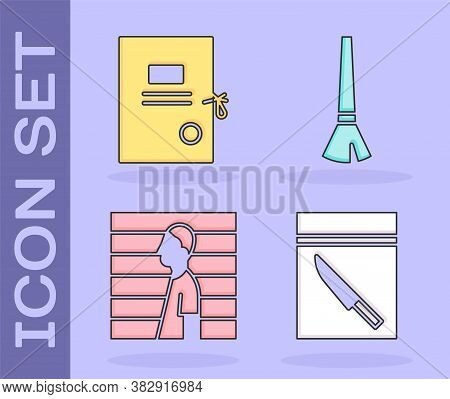 Set Evidence Bag And Knife, Lawsuit Paper, Suspect Criminal And Paint Brush Icon. Vector