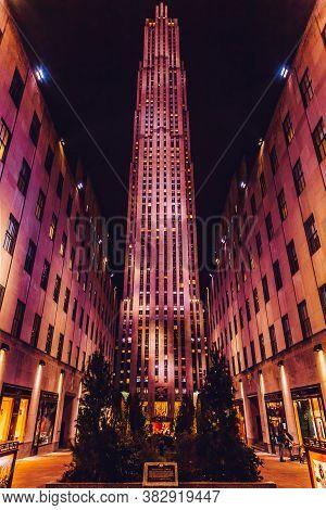 New York, Usa - February 11, 2020: Rockefeller Center In Manhattan.