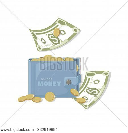 Dollars Bills, Gold Coins. Cash Wallet. Falling Money Isolated On White Background. American Bill, C