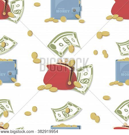 Wallet, Money Pattern. Cash. Dollars Signs, Gold Coins. Cash Collecting Billfold On White Background