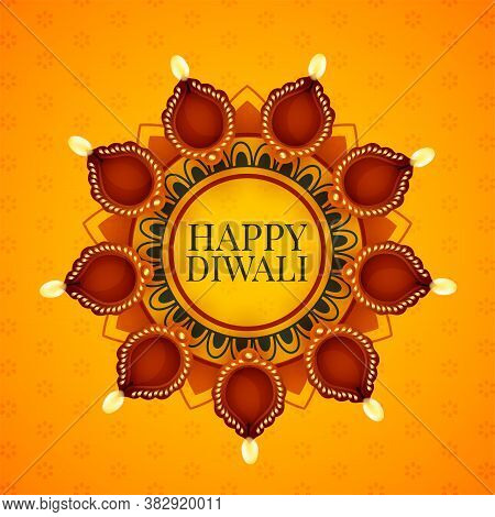 Decorative Diya Lamps Decoration For Diwali Festival Vector Design Illustration