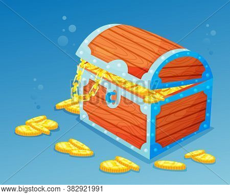 Wooden Treasure Chest Stands At The Bottom Of The Sea, Vector Illustration. Pirate Treasure Trove