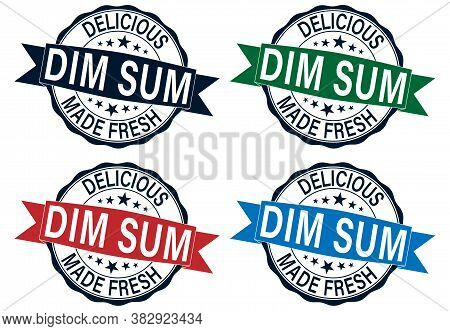 Grunge Delicious Quaity Dimsum Word Round Rubber Seal Stamp On White Background