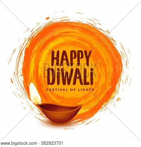 Happy Diwali Orange Watercolor Festival Background Design