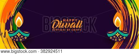 Decorative Happy Diwali Abstract Festival Banner Vector Design Illustration