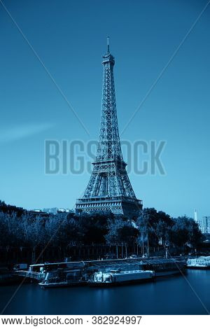 Paris River Seine with Eiffel Tower in France.