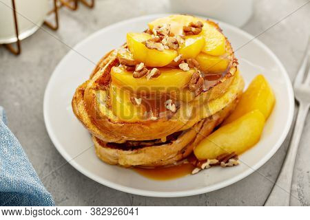 Caramel Apple French Toasts With Pecans, Fall Breakfast Dish