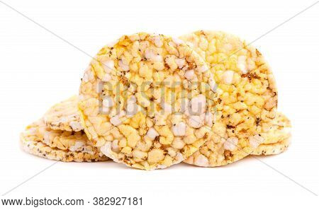 Crispbread With Chia Seeds And Oregano, Isolated On White Background. Millet Chips. Dietary Food Wit