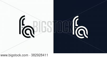 Modern Abstract Initial Letter Fa Logo. This Icon Incorporate With Two Abstract Typeface In The Crea