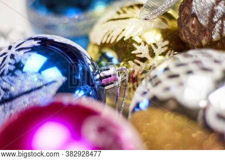 Close-up Shot Of Colorful Christmas Ornaments. Pile Of Christmas Festive Decorations Stock Photo. Ho