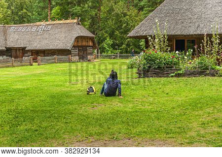 Riga, Latvia - July 29, 2019: Old Wooden Houses In The Riga Open-air Museum Which Represent Architec