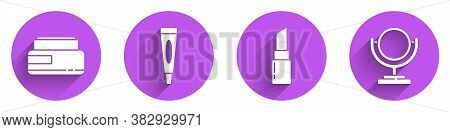 Set Cream Or Lotion Cosmetic Tube, Cream Or Lotion Cosmetic Tube, Lipstick And Round Makeup Mirror I