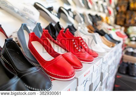 Antalya / Turkey - January 19, 2020: Shoes Of Various Brands Stands In A Shoe Market Shop