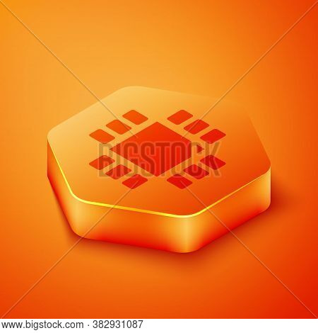 Isometric Computer Processor With Microcircuits Cpu Icon Isolated On Orange Background. Chip Or Cpu