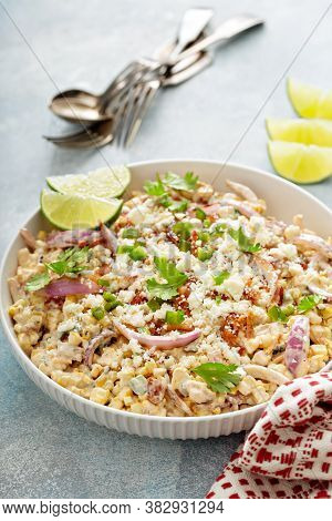 Grilled Corn And Jalapeno Salad With Red Onion, Cheddar Cheese And Bacon, Summer Potluck Recipe