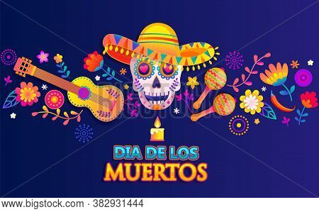 Horizontal Bright Banner For Mexican Dia De Los Muertos.day Of The Dead Poster With Colorful Flowers